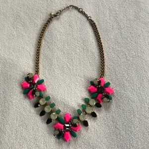 J Crew Pink and Green Gems Statement Necklace